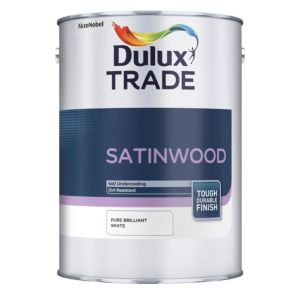View Dulux Trade Interior Brilliant White Satinwood Paint 5L details
