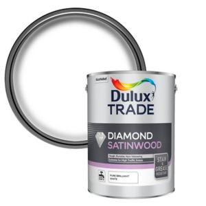 Image of Dulux Trade Diamond Pure brilliant white Satinwood paint 5L