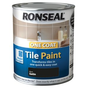 View Ronseal One Coat Black Satin Tile Paint 750ml details