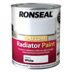 View Ronseal Brilliant White Satin Radiator Paint 750ml details