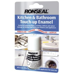 View Ronseal Kitchen & Bathroom White Satin Enamel Paint 10ml Tester Pot details