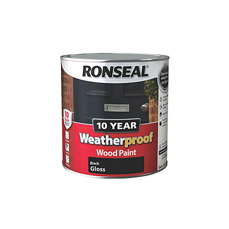 Ronseal 10 Year Weatherproof Black Gloss Wood Paint 2 5l Departments Diy At B Q