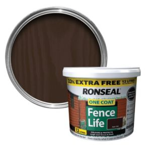 View Ronseal 1 Coat Dark Oak Matt Shed & Fence Stain with Preserver 12L details