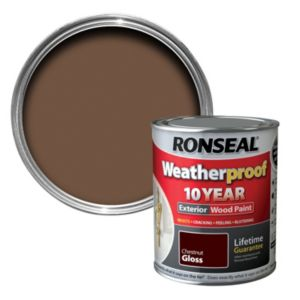 Ronseal 10 year weatherproof wood paint muddy brown 750ml Ronseal 10 year exterior wood paint