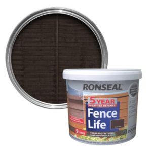 View Ronseal Fence Life Dark Oak Matt Shed & Fence Stain with Preserver 9L details