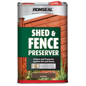 View Ronseal Dark Brown Matt Shed & Fence Stain with Preserver 5L details