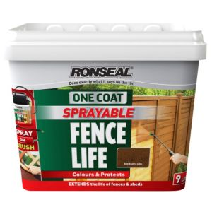 View Ronseal 1 Coat Medium Oak Matt Shed & Fence Stain with Preserver 9L details