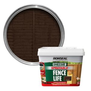 View Ronseal One Coat Sprayable Fence Life Dark Oak Shed & Fence Stain 9L details