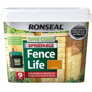 View Ronseal One Coat Sprayable Fence Life Harvest Gold Shed & Fence Stain 9L details