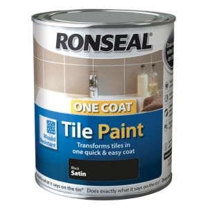 Ronseal Tile paints Black Satin Tile paint0.75L