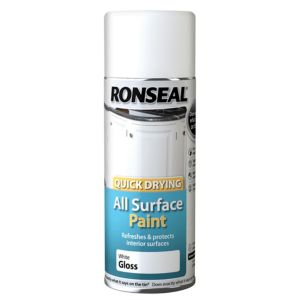 View Ronseal Quick Drying White Gloss Spray Paint 400ml details