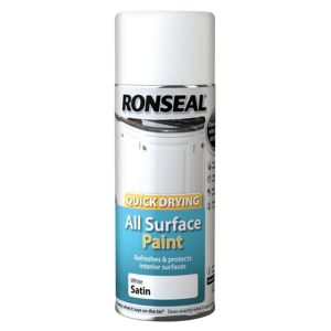 View Ronseal Quick Drying White Satin Spray Paint 400ml details