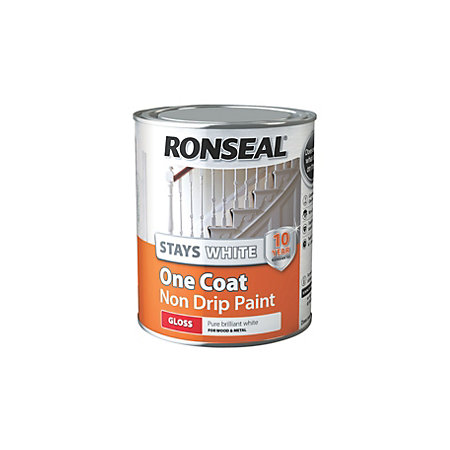 Ronseal stays white one coat interior white gloss trim for One coat white paint