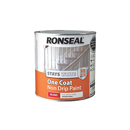 Ronseal stays white trim paint internal white gloss one for Gloss paint for trim