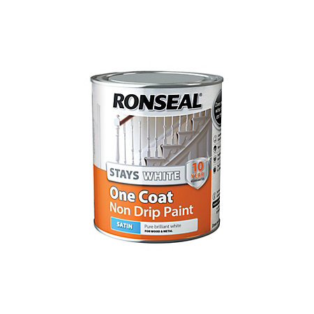 Ronseal stays white trim paint internal white satin one for One coat white paint