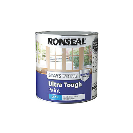 Ronseal Pure Brilliant White Satin Wood Metal Paint 2500ml Departments Diy At B Q