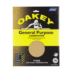 Image of Oakey 100 Fine Sandpaper Pack of 5