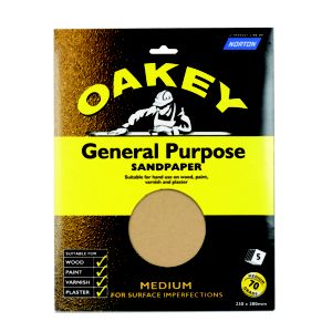 View Oakey 70 Grit Medium Sandpaper, Pack of 5 details