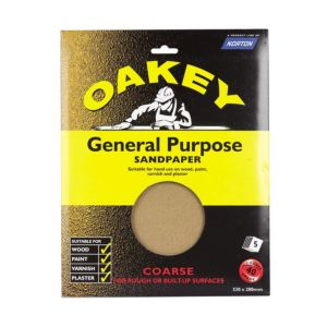 View Oakey 40 Grit Coarse Sandpaper, Pack of 5 details