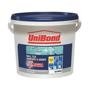 Image of UniBond Ready mixed Ice white Wall Tile Adhesive & grout 12.8kg