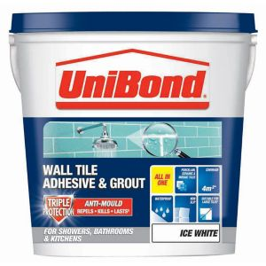 Image of UniBond Ready mixed Ice white Wall Tile Adhesive & grout 6.4kg