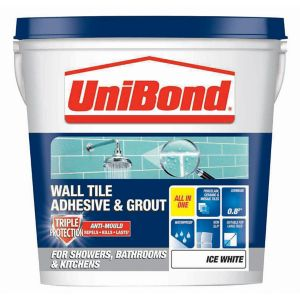 Image of UniBond Ready mixed Ice white Wall Tile Adhesive & grout 1.28kg