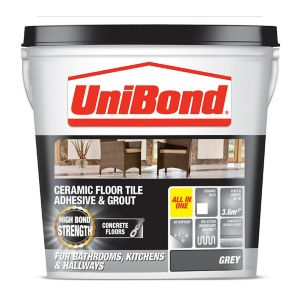 Image of UniBond Ready mixed Grey Floor Tile Adhesive & grout 14.3kg