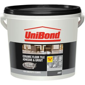 Image of UniBond Ready mixed Grey Floor Tile Adhesive & grout 7.2kg
