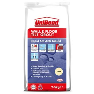 Image of UniBond Rapid Set Cream Wall & floor Grout 2.5kg Bag