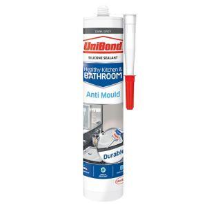 Image of UniBond Healthy kitchen & bathroom Mould resistant Dark grey Silicone-based Sealant 300ml