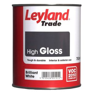 Image of Leyland Trade Brilliant white Gloss Wood & metal paint 0.75L