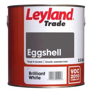 Image of Leyland Trade Brilliant white Eggshell Wood & metal paint 2.5L