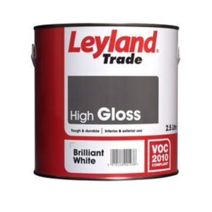 Image of Leyland Trade Brilliant white Gloss Wood & metal paint 2.5L