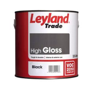 Image of Leyland Trade Black Gloss Wood & metal paint 2.5L