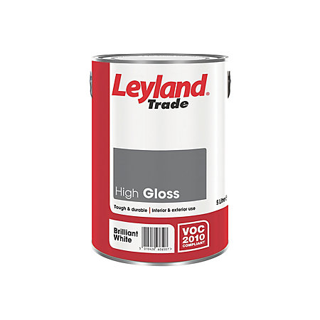 Leyland Trade Interior Exterior Brilliant White Gloss Wood Metal Paint 5000ml Departments