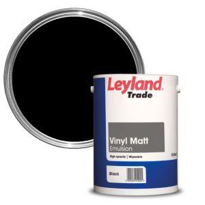 Image of Leyland Trade Black Matt Emulsion paint 5L