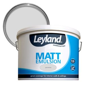 Image of Leyland Grey harmony Matt Emulsion paint 10L