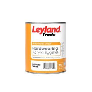 Image of Leyland Trade Brilliant white Acrylic eggshell Emulsion paint 0.75L