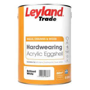 Image of Leyland Trade Brilliant white Acrylic eggshell Emulsion paint 5L