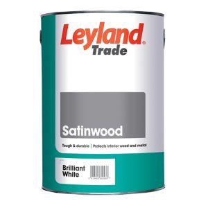 Image of Leyland Trade Brilliant white Satin Paint 5L
