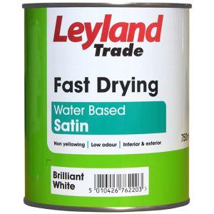 Image of Leyland Trade Brilliant white Satin Paint 0.75L
