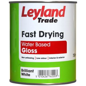 Image of Leyland Trade Brilliant white Gloss Paint 0.75L