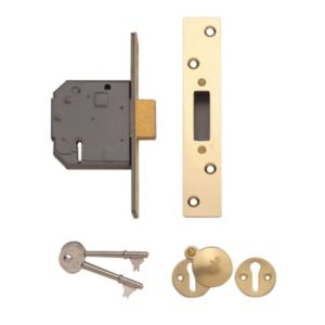 View Yale 64mm Polished Brass 5 Lever Deadlock details