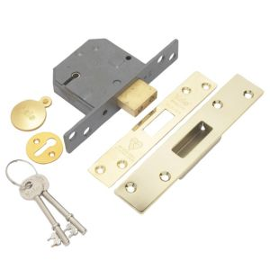View Yale 64mm Polished Brass 5 Lever Mortice Deadlock details
