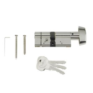 View Yale 35 / 10 / 35mm Bright Nickel Plated Thumbturn Euro Cylinder Lock details