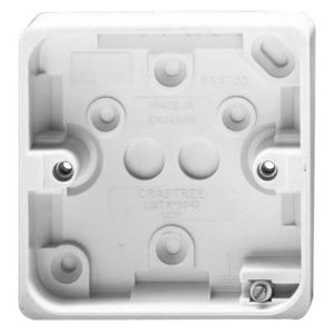 View Crabtree White Plastic Single Pattress Box 20 mm details