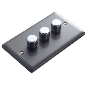 View Volex 3-Gang 2-Way Pewter Effect Triple Dimmer Switch details