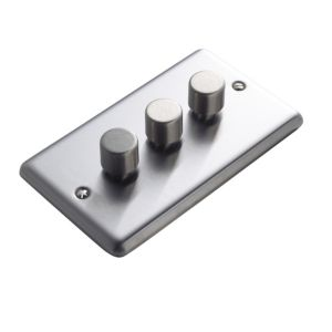 View Volex Steel Effect 3-Gang Push On/Off with Rotary Dimming 250W Dimmer Switch details