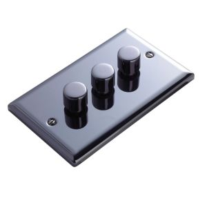 View Volex 3-Gang 2-Way Iridium Black Dimmer Switch details