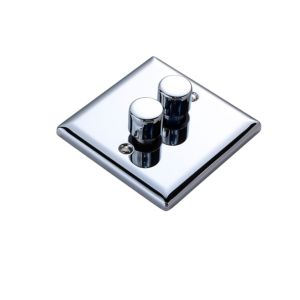 View Volex 2-Gang 2-Way Polished Chrome Effect Double Dimmer Switch details
